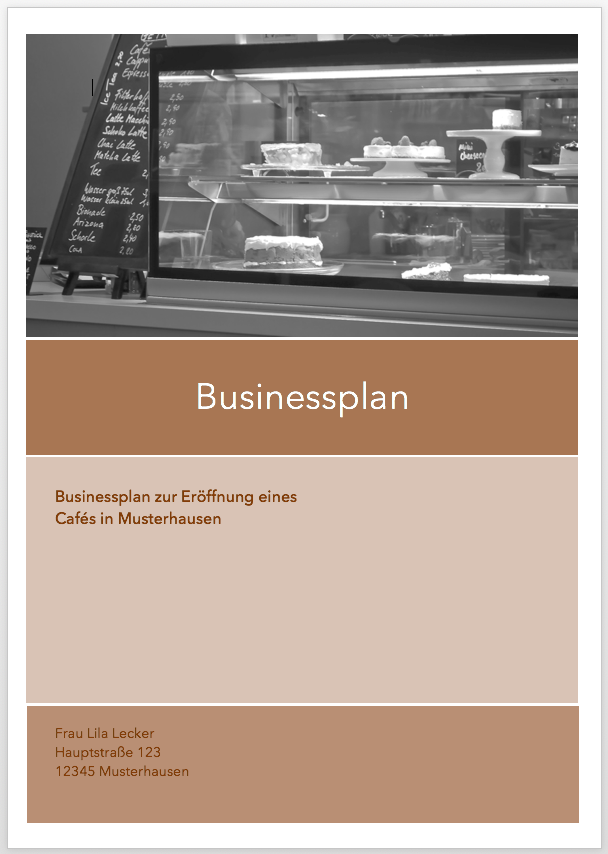 Cafe Bistro Businessplan Businessplan Shop