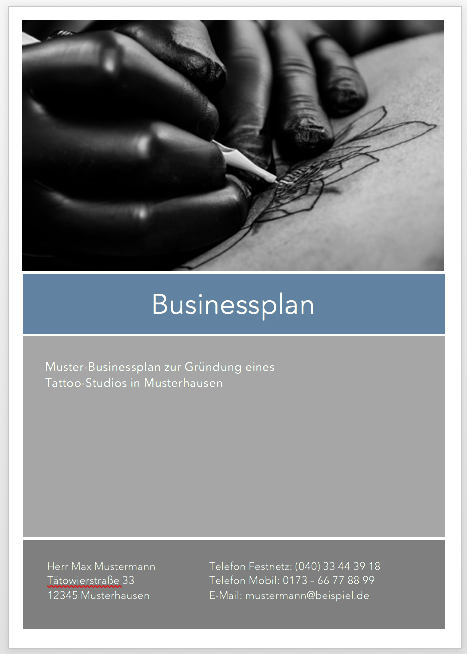 Tattoostudio Businessplan Businessplan Shop